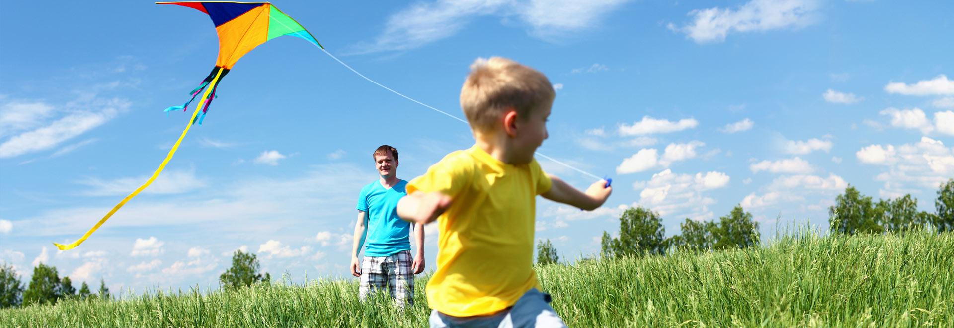 Kid with kite - slider element